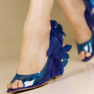 Kvoll very unique floral transparent blue  wedges